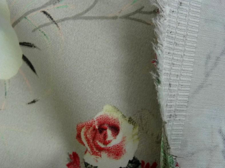 Popeline coton lycra beige petits rosiers 3