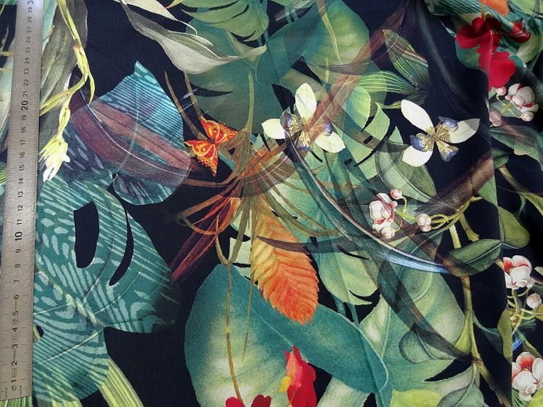 Popeline coton lycra fond noir jungle 2