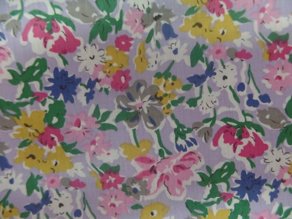 Popeline coton mauve imprime liberty fleurs rose gris vert et bleu