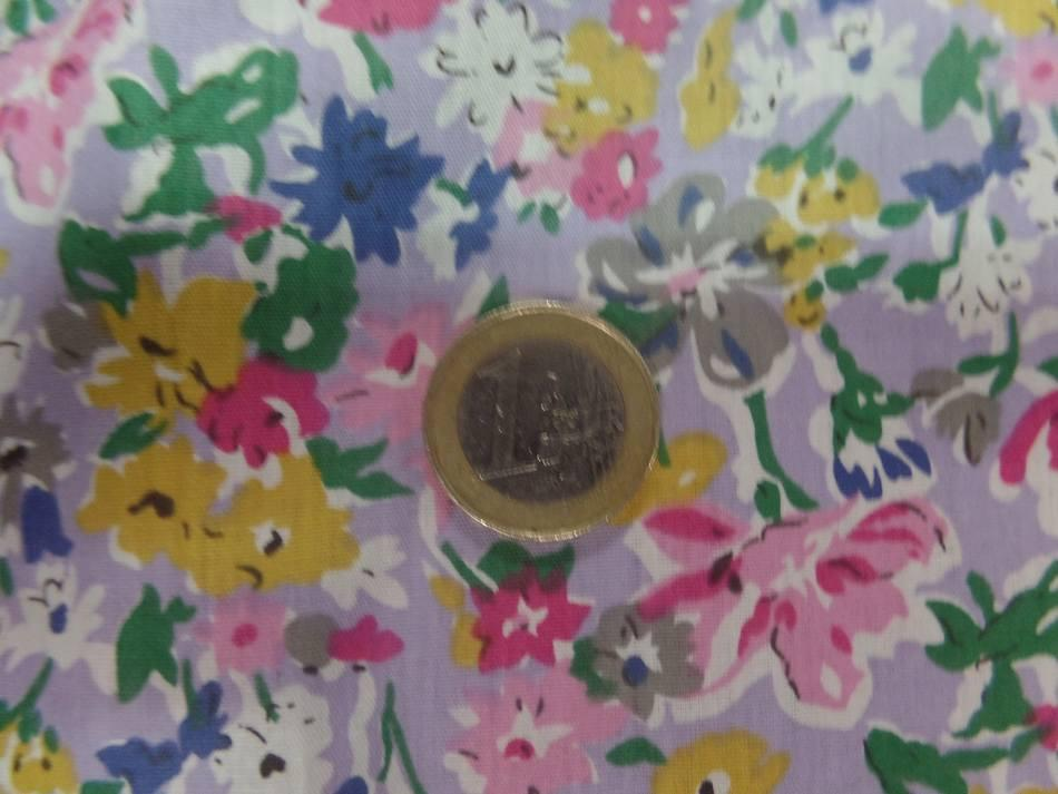 Popeline coton mauve imprime liberty fleurs rose gris vert et bleu3