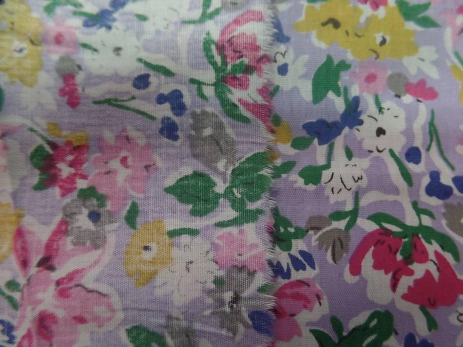 Popeline coton mauve imprime liberty fleurs rose gris vert et bleu5