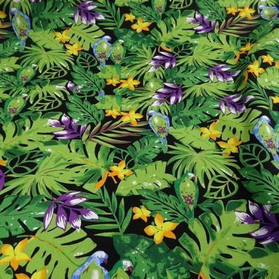 Popeline coton motifs feuilles et oiseaux exotiques vert violet 2