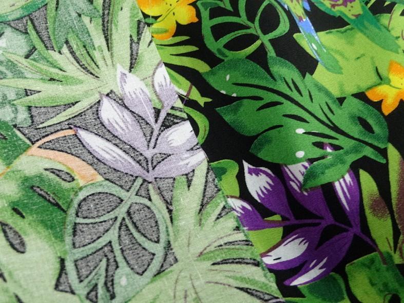 Popeline coton motifs feuilles et oiseaux exotiques vert violet 3