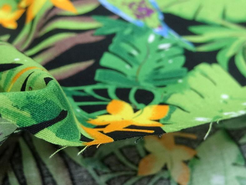 Popeline coton motifs feuilles et oiseaux exotiques vert violet 4