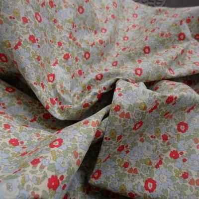 Popeline coton petites fleurs bleu tilleul rouge geranium 2