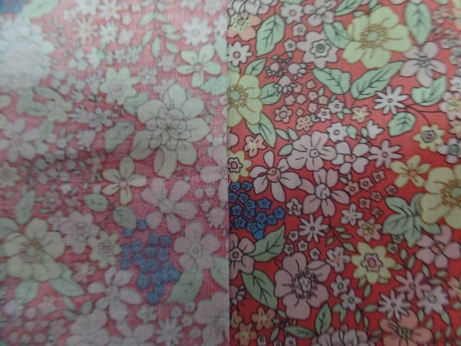 popeline ton saumon imprimé liberty fleurs ,jaune et rose et bleu