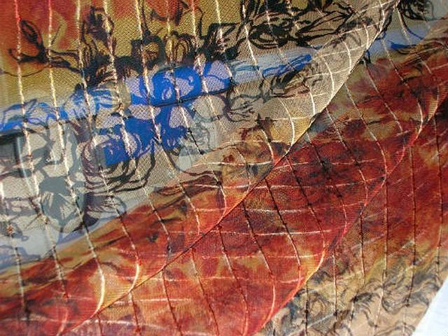 Resille beige feu motif fleuri raye de sequins 3