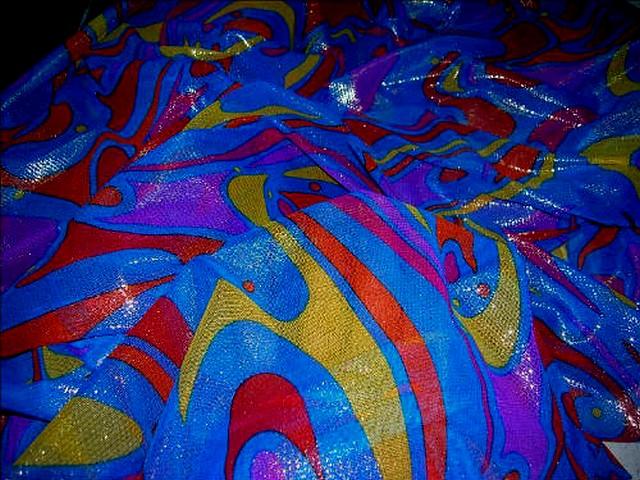 Resille bleu roi lurex motifs modernes 3