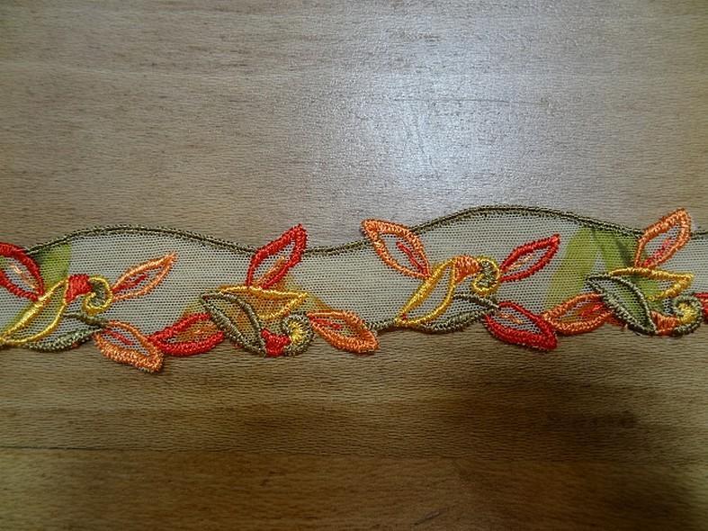 Resille brodee orange et kaki feuillage 3