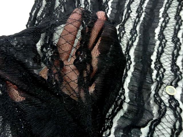 Resille dentelle lycra noire rayee lurex 2