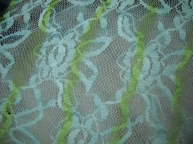 Resille dentelle patchwork de rayures glycine bleu tilleul 4