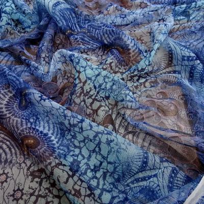 Resille en camaieu de bleus fleurs et volutes 1