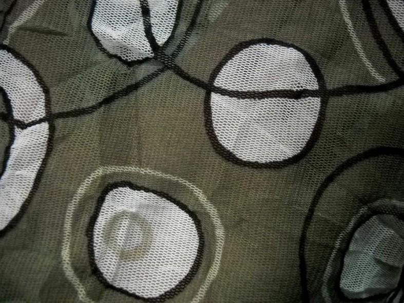 Resille kaki motifs cercles froisse permanent