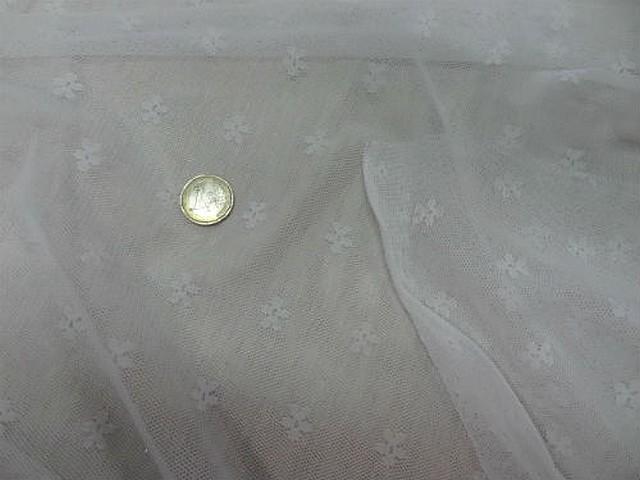 Resille lycra blanc motif tisse fleurette 3