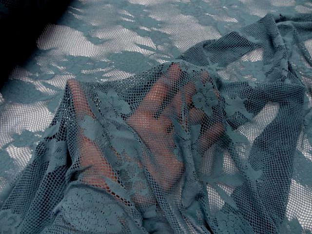 Resille lycra bleu persan motif fleuri 1
