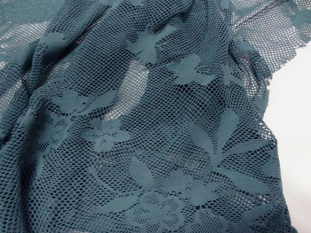 Resille lycra bleu persan motif fleuri 3