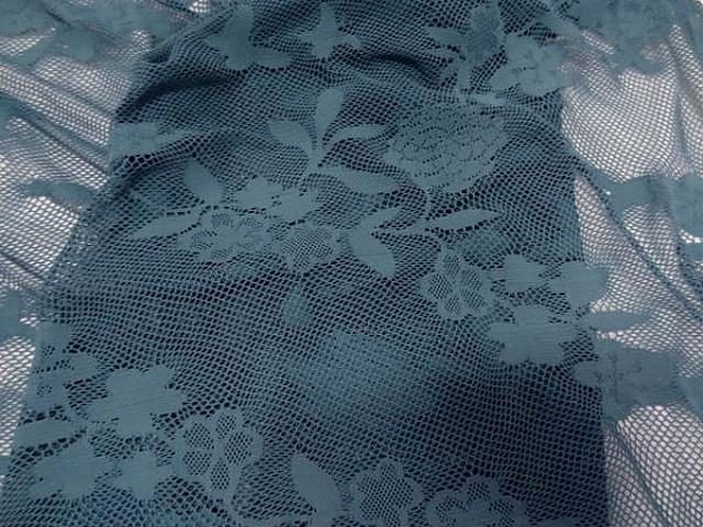 Resille lycra bleu persan motif fleuri 4