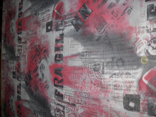 Résille lycra imprimé gris-rose-noir 1