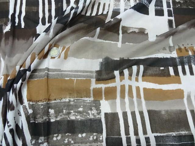 Resille lycra motif carres et rayures abstrait noir blanc tabac