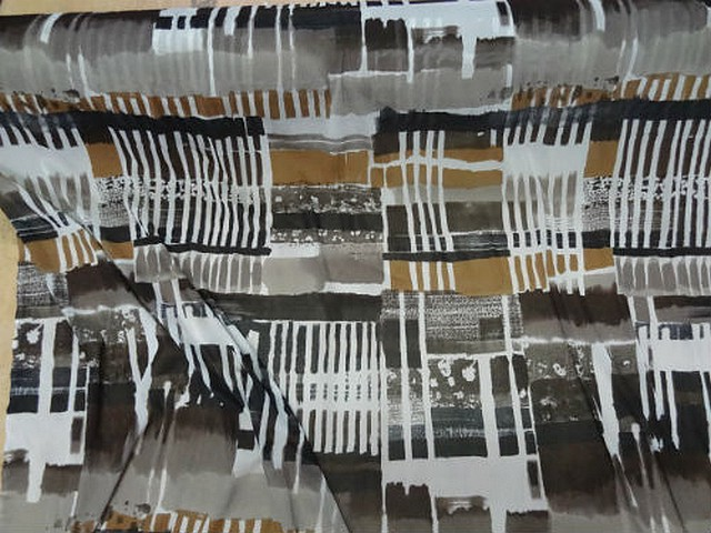 Resille lycra motif carres et rayures abstrait noir blanc tabac 1