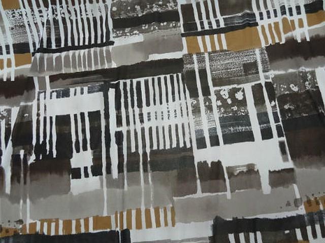 Resille lycra motif carres et rayures abstrait noir blanc tabac 2