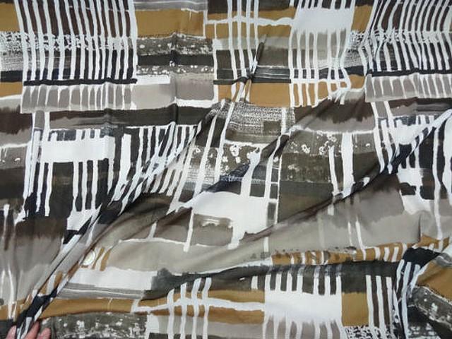 Resille lycra motif carres et rayures abstrait noir blanc tabac 3