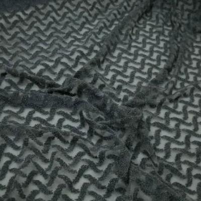 Resille lycra motif croisillons en relief gris 2