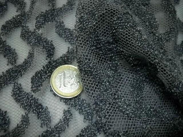 Resille lycra motif croisillons en relief gris 3