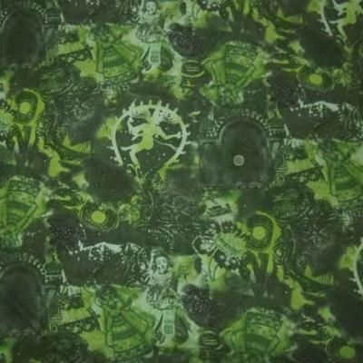 Resille lycra motif shiva vert mousse et kaki 1