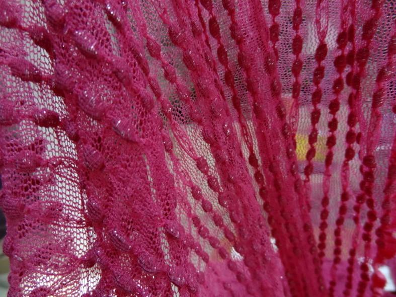 Resille lycra rose bonbon cloque lurex argent 2