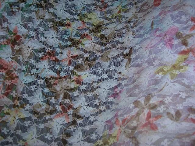 Resille lycra rose pale imprime motif papillon 2