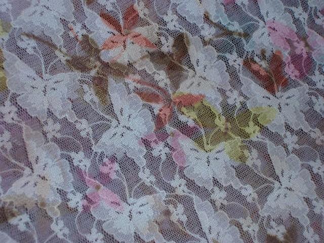 Resille lycra rose pale imprime motif papillon 3