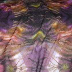 """Résille lycra """"Tie and dye"""" ocre et violet"""