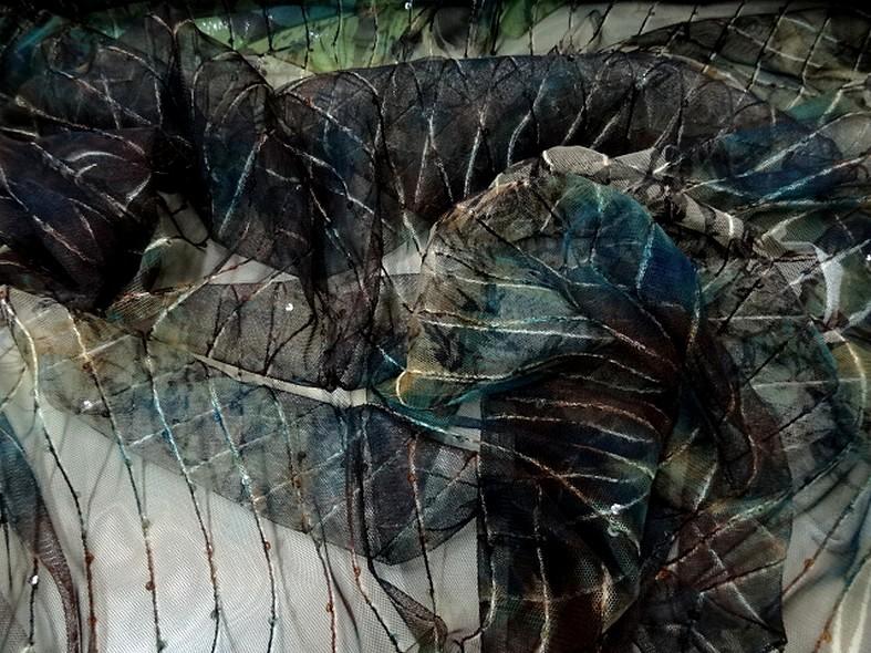 Resille marron bleu vert fleurie a sequins