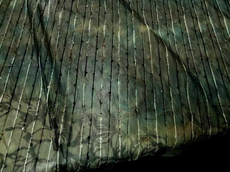 Resille marron bleu vert fleurie a sequins 3