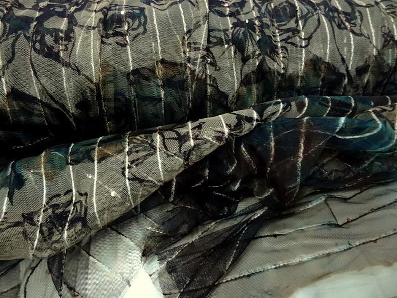 Resille marron bleu vert fleurie a sequins 4