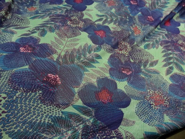 Resille motif fleurs tropicales teinte opale violet bleu canard 1