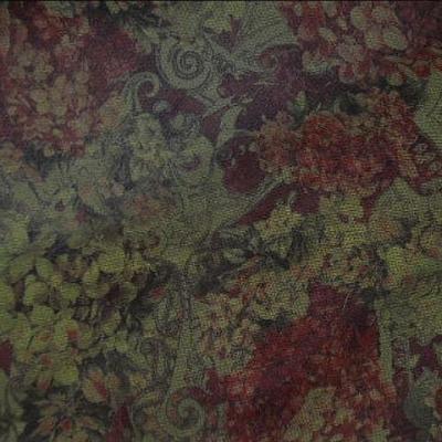 Resille motif hortensia et volutes rouge carmin et miel kaki 1