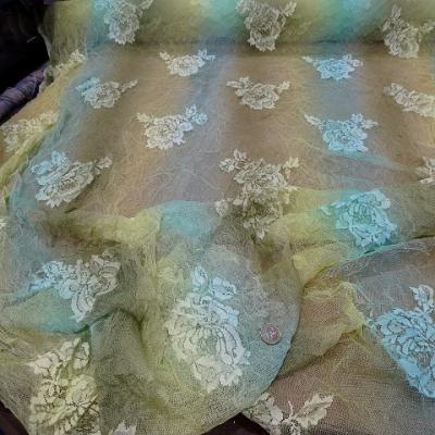 Resille motif roses en camaieu bleu kaki paille 2
