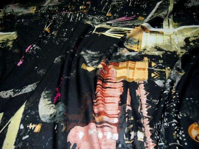 Resille noire motif urbain 2