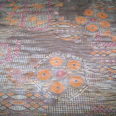 Resille patchwork ethnique sepia orange et rose 1