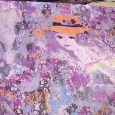 Resille rose orchidee motif femme au chapeau 1