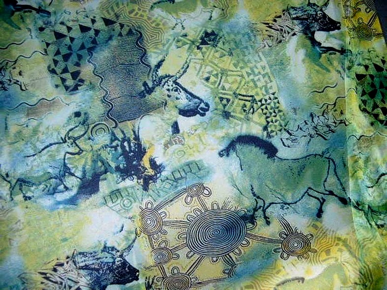 Resille vert bleu motif fresque prehistorique 1