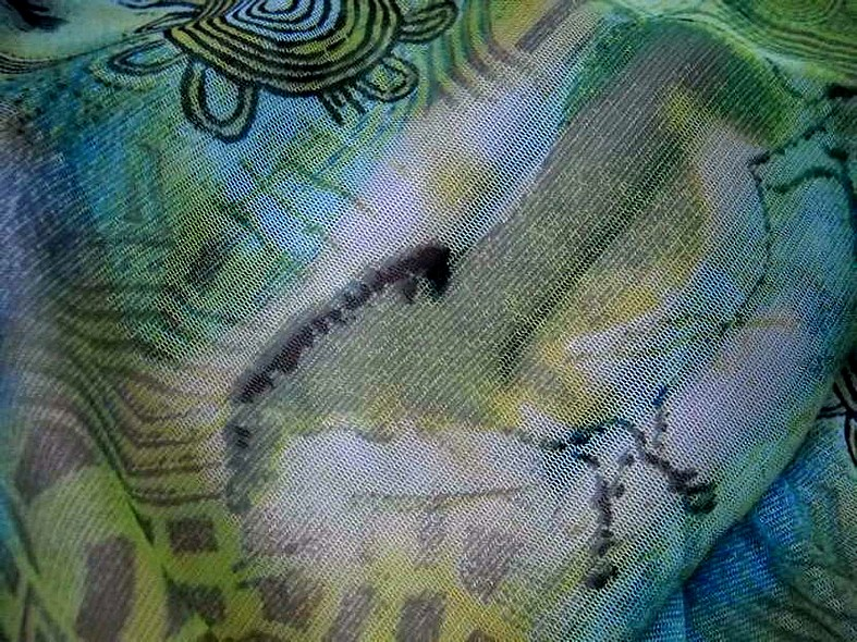 Resille vert bleu motif fresque prehistorique 2