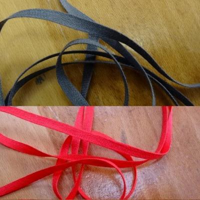 Ruban coton plat 4 mm rouge ou gris