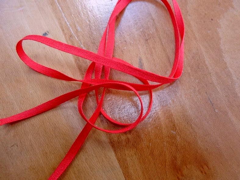 Ruban coton plat rouge 2