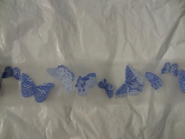 Ruban d organza brode de papillons bleu ciel cerule 1
