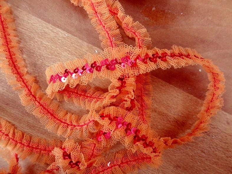 Ruban elastique resille froncee orange sequins rose metal 3