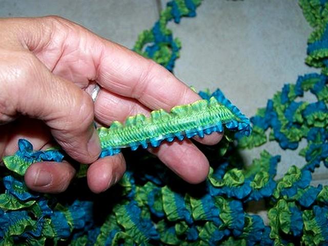 Ruban fronce elastique bleu vert 1
