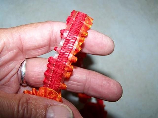 Ruban fronce elastique orange rouge 2
